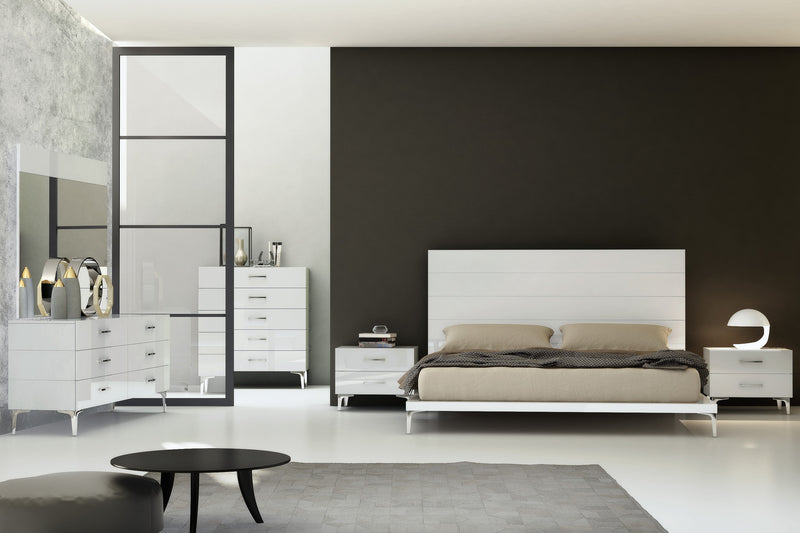Diva Bed Queen, high gloss white headboard with vertical grooves, stainless steel legs