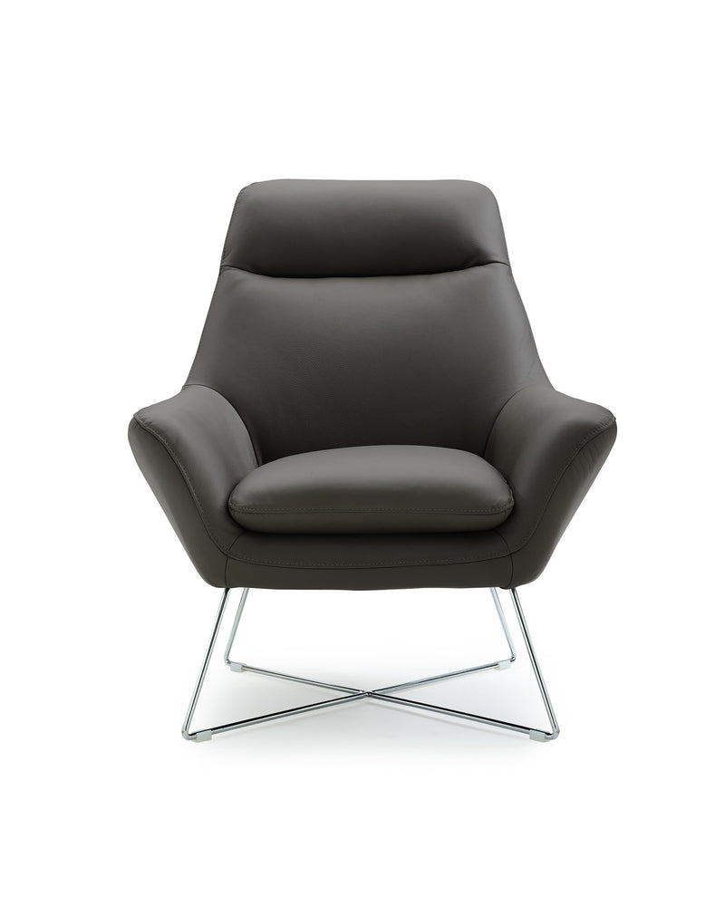 Daiana Chair, dark gray top grain italian leather,  stainless steel legs.
