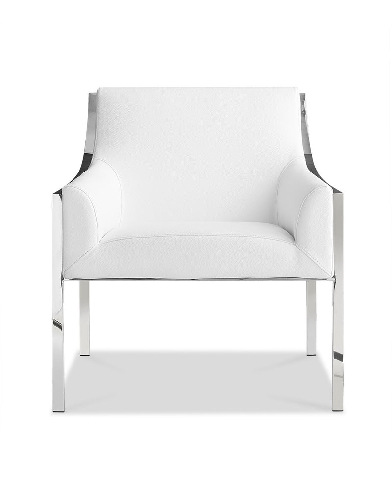 Dalton Leisure Armchair, White HS051606 faux leather, polished stainless steel frame.