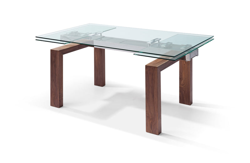 "Davy Extendable Dining Table 1/2"" tempered glass top, solid wood with walnut veneer base"