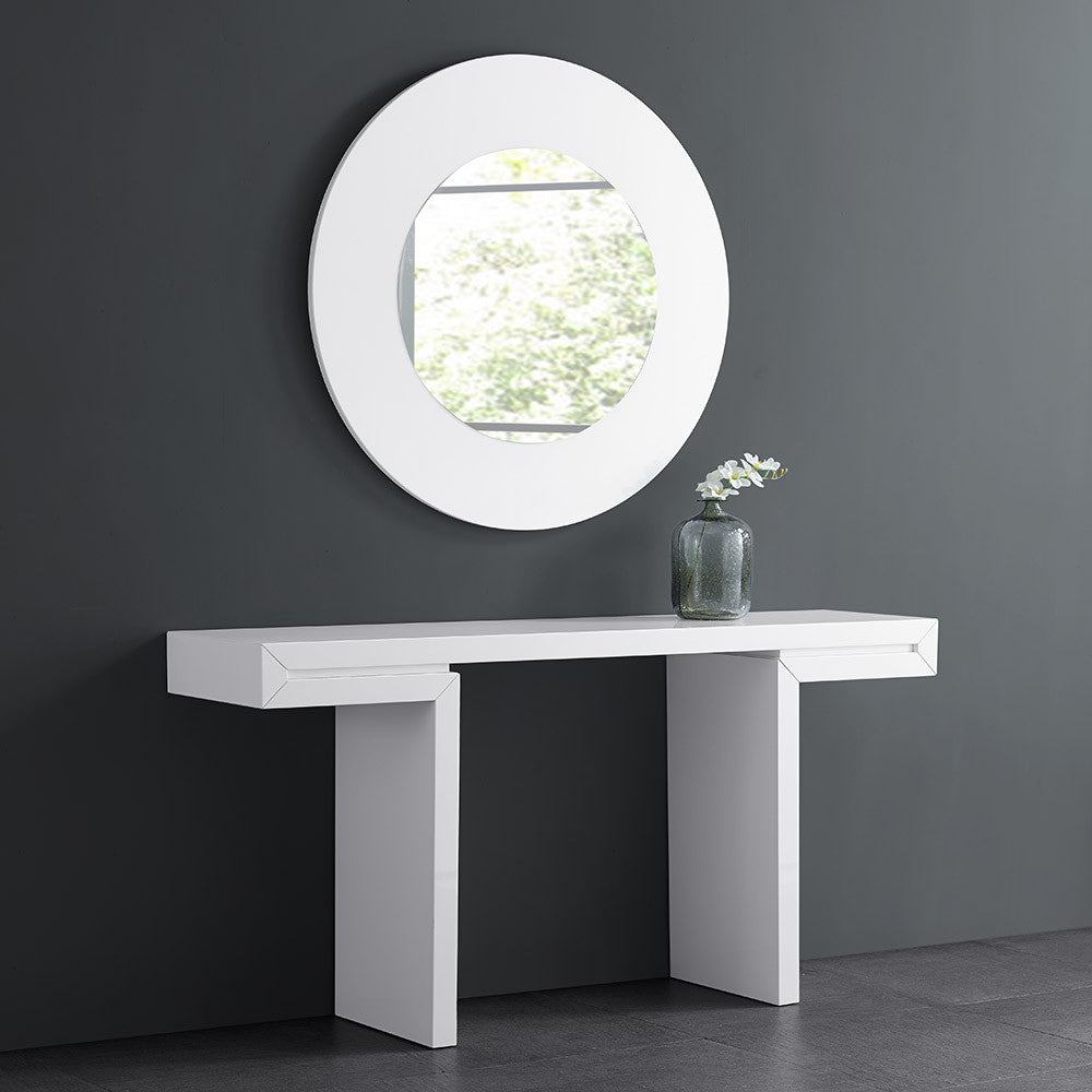 Delaney Console, High white gloss lacquer
