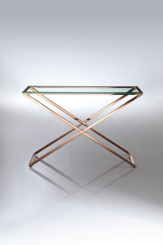 Destiny Console, clear glass, rose gold stainless steel base