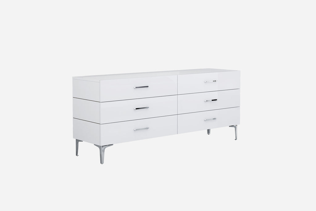 Diva Dresser Double, high gloss white, 6 self-close drawers, chrome handles, stainless steel legs