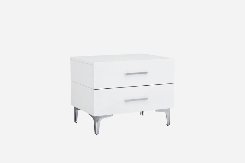 Diva Night Stand, high gloss white, chrome handles, self-close drawers, stainless steel legs