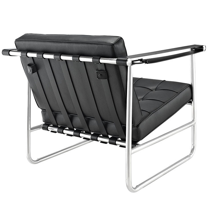Serene Stainless Steel Vinyl Lounge Chair