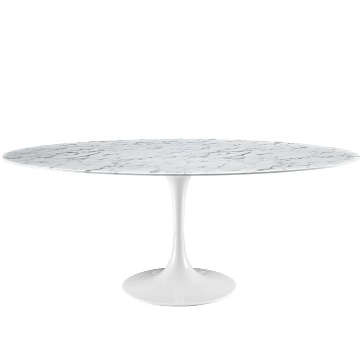 "Lippa 78"" Oval Artificial Marble Dining Table"