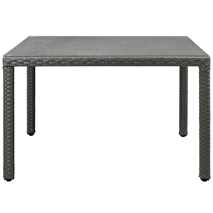 "Sojourn 47"" Square Outdoor Patio Glass Top Dining Table"