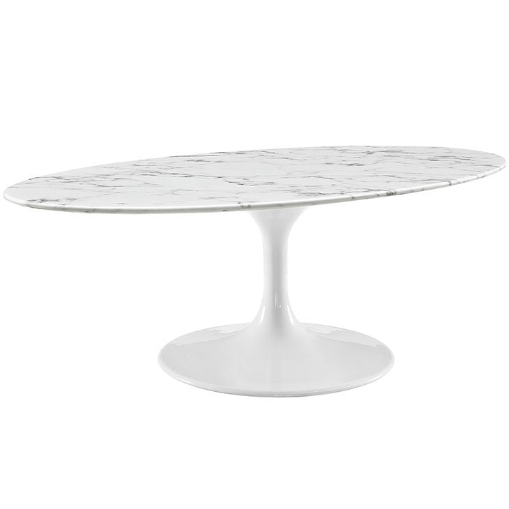 "Lippa 48"" Oval-Shaped Artificial Marble Coffee Table"