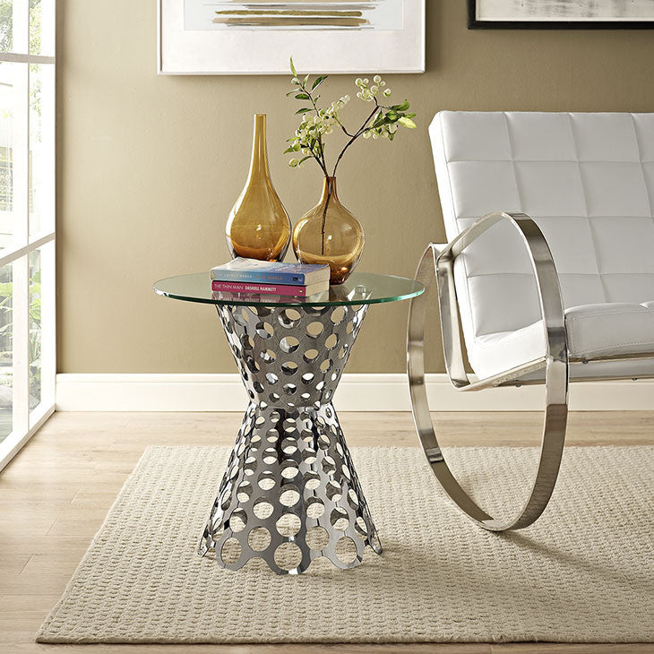 Arrange Glass Top Side Table