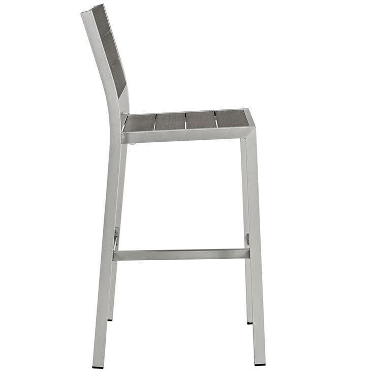 Shore Outdoor Patio Aluminum Armless Bar Stool