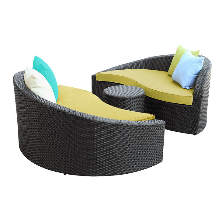 Magatama 3 Piece Outdoor Patio Chaise