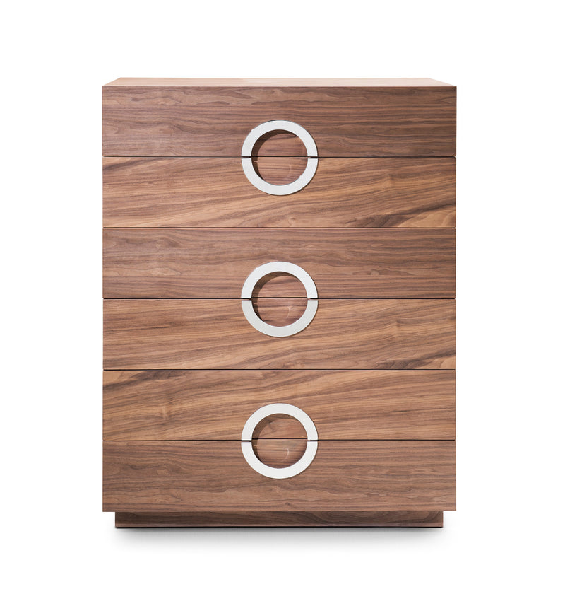 Eddy Chest of Drawers, Natural Walnut veneer,Stainless steel hardware, Full Extension Drawers