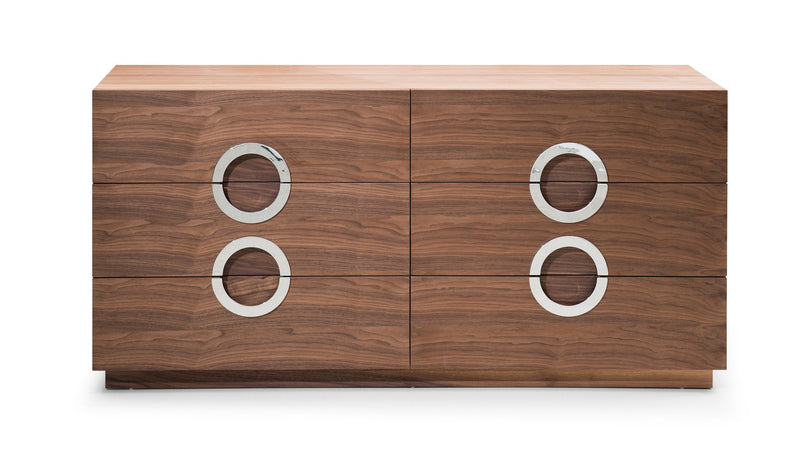 Eddy Dresser Double, Natural Walnut veneer,Stainless steel hardware, Full Extension Drawers