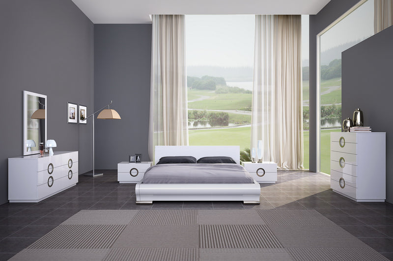 Eddy Bed King, High gloss White, Stainless steel Feet