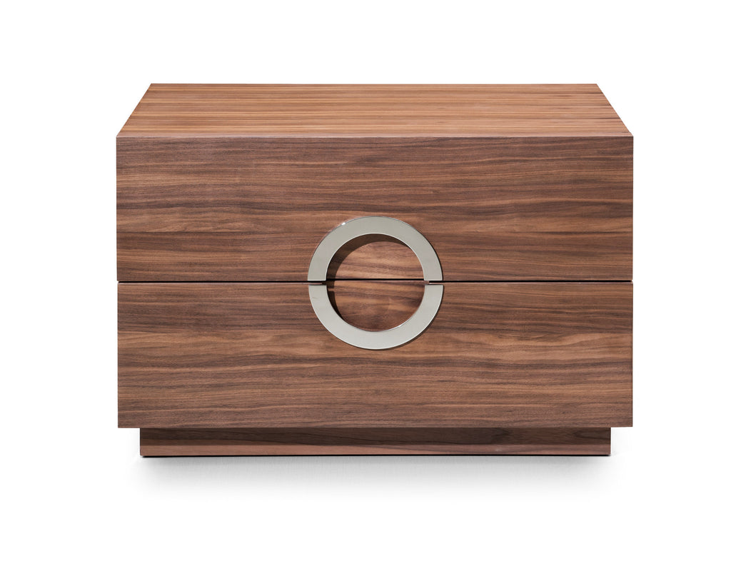 Eddy Night Stand Large, Natural walnut veneer, Stainless steel handles, Full extension drawers