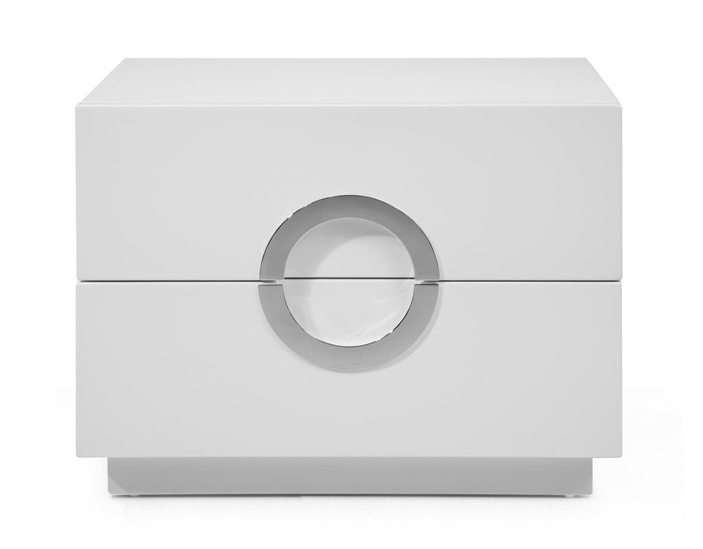 Eddy Night Stand small, High gloss White, Stainless steel handles, full extension drawers.