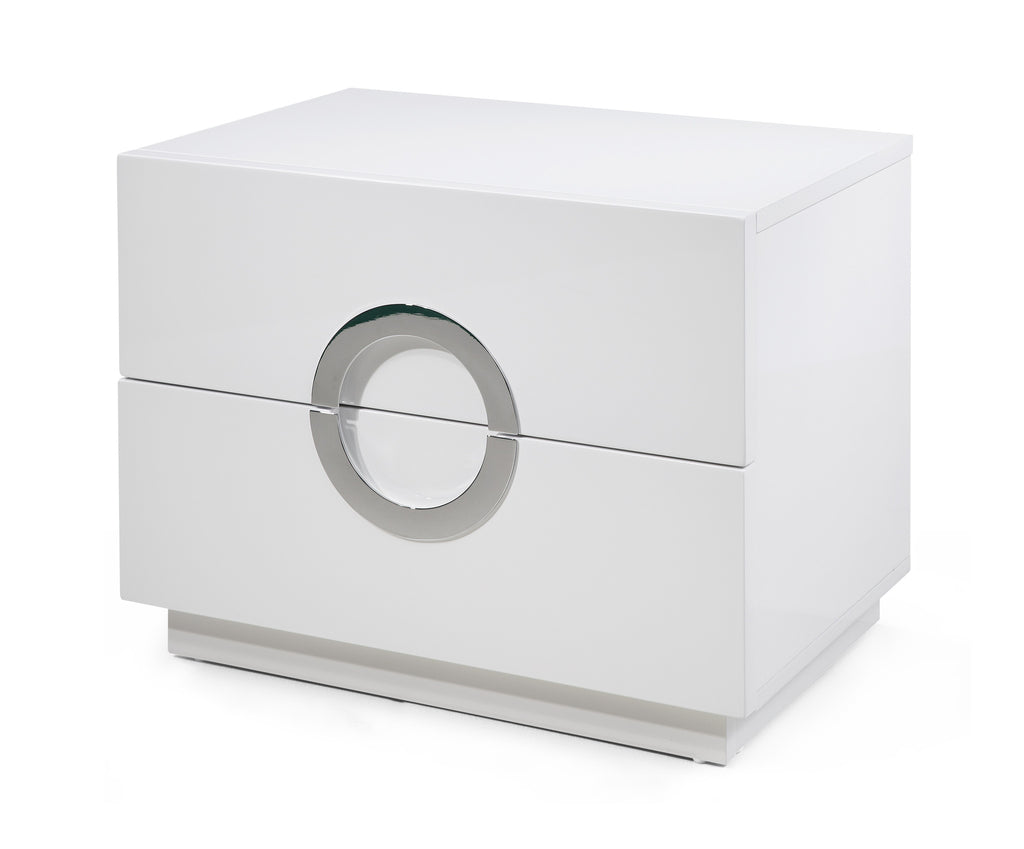 Eddy Night Stand large, High gloss White, Stainless steel handles, full extension drawers.