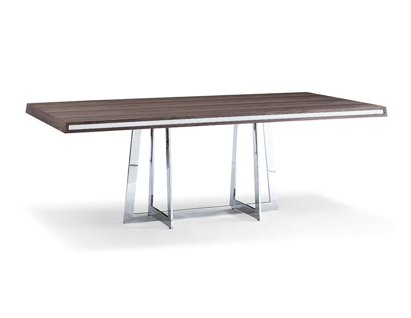 Egypto Dining Table, walnut veneer top with high gloss white trim on two longest sides, polished stainless steel base