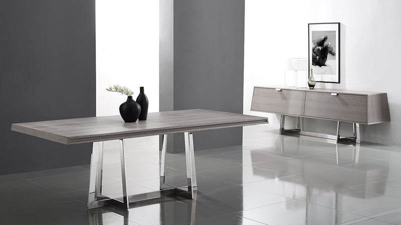Egypto Dining Table, Grey oak veneer, polished stainless steel base
