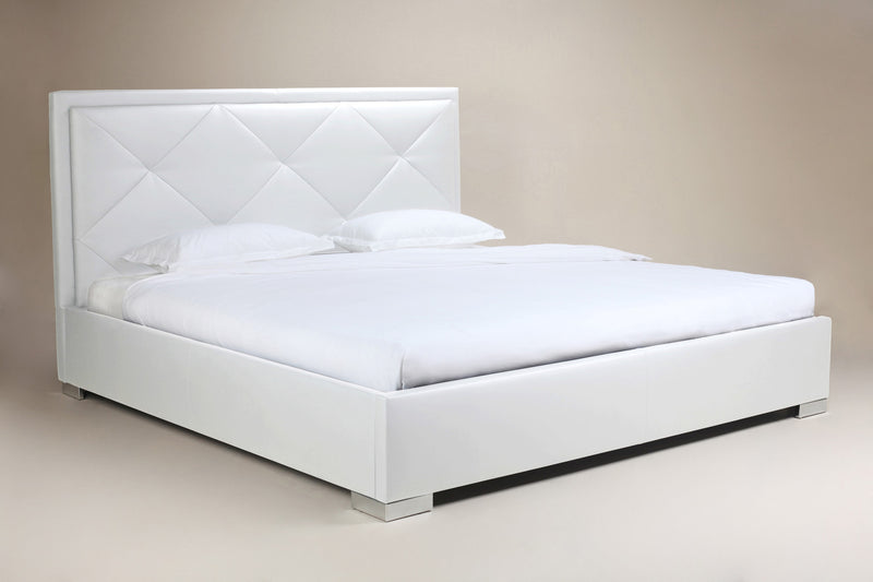 Elize Bed Queen, White Faux Leather, tufted headboard, chrome feet.