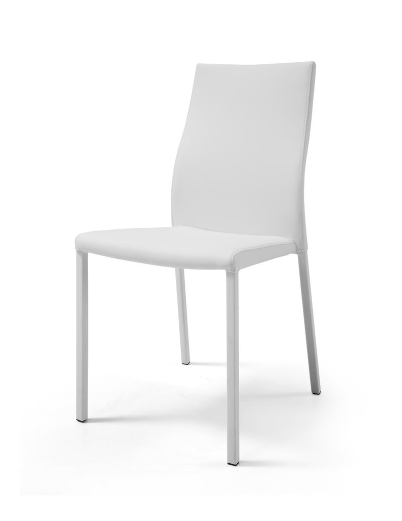 Ellie Dining Chair, White Faux Leather, stackable