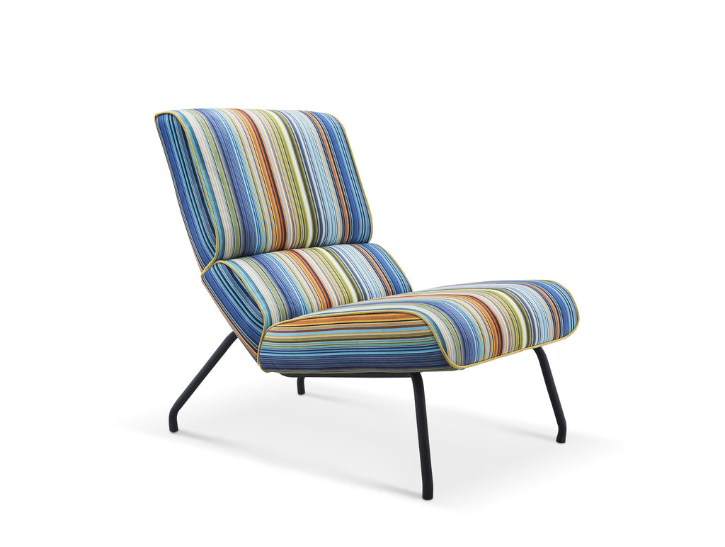 Elouise chair, multi-colored striped fabric, metal feet with black powder finish