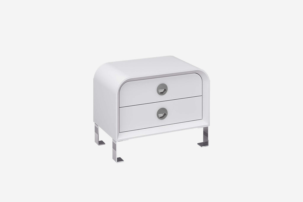 Gail Night Stand, High gloss white, Stainless steel legs, self close drawers