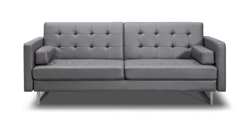 Giovanni Sofa Bed, Gray Faux Leather, Stainless steel legs.