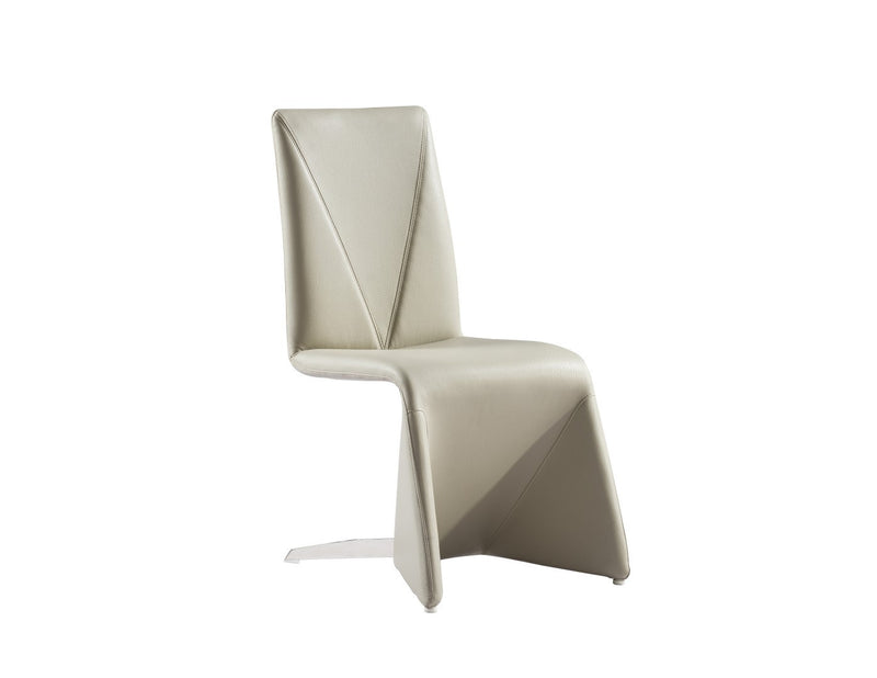 Grace Dining Chair, taupe faux leather, polished stainless steel rear legs