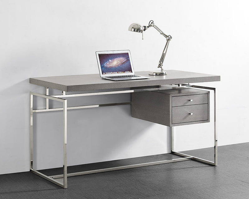 Harlow Desk, top & drawer in Gray oak  veneer with stainless steel base