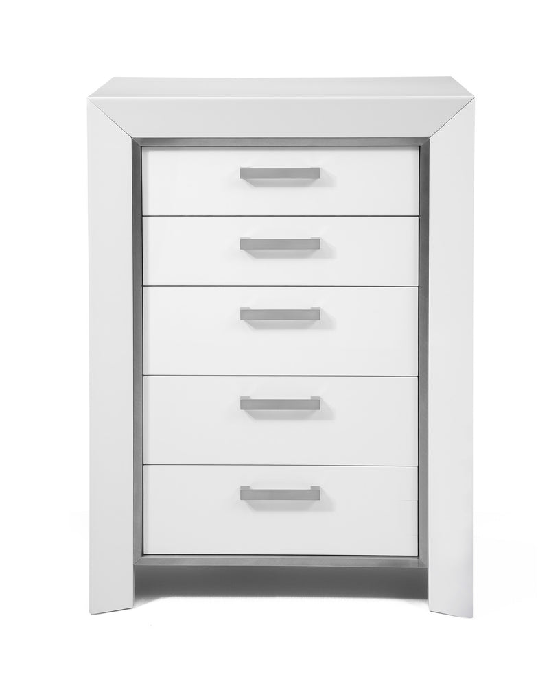 Ibiza Chest of drawers, High gloss white, stainless steel stripe, Self close drawers
