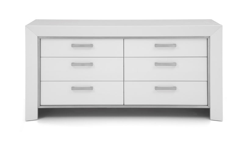 Ibiza Dresser, High gloss white, stainless steel stripe, Self close drawers