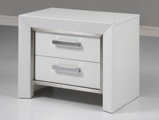 Ibiza Night Stand, High gloss white, stainless steel stripe, Self close drawers.
