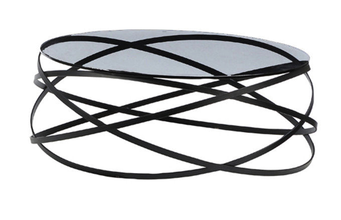 Infinity coffee table, 10mm clear glass top, black lacquer metal base
