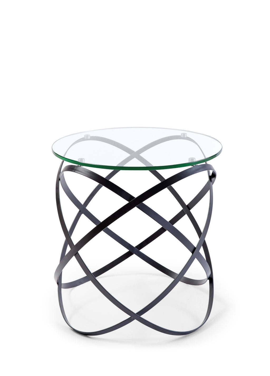 Infinity side table, 10mm clear glass top, black lacquer metal base