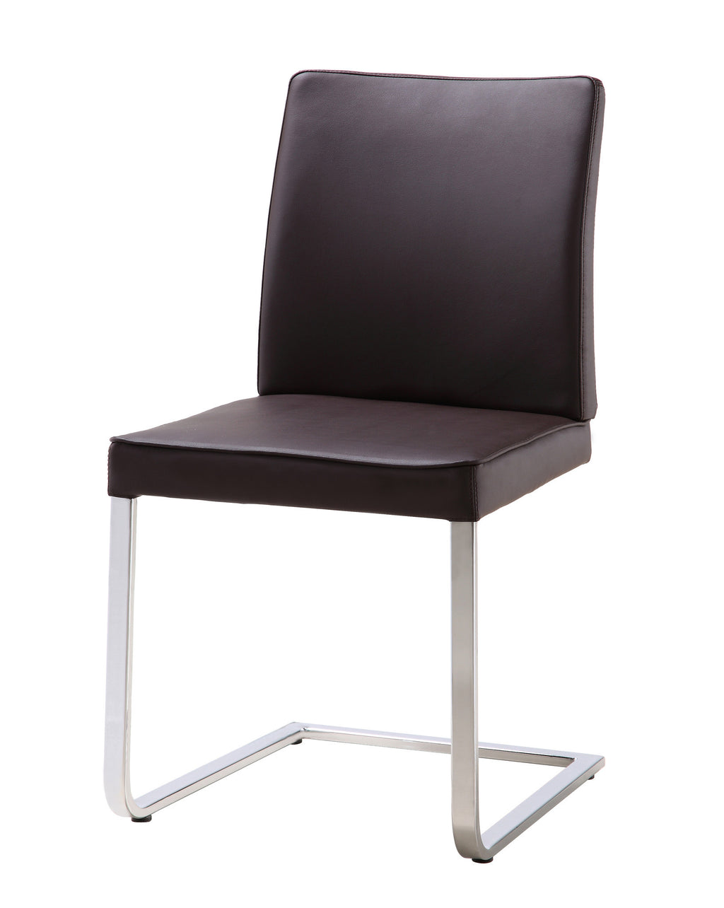 Ivy Dining Chair, Chocolate Faux Leather, Chrome frame