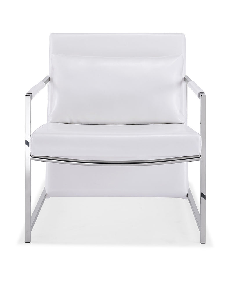 Jameson Armchair, white faux leather, stainless steel base