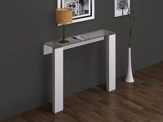 Jane Console, High Gloss white, Stainless steel, attached to the wall