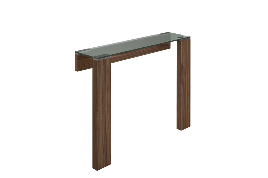 Jane Console, Natural Walnut Veneer, Stainless steel, attached to the wall