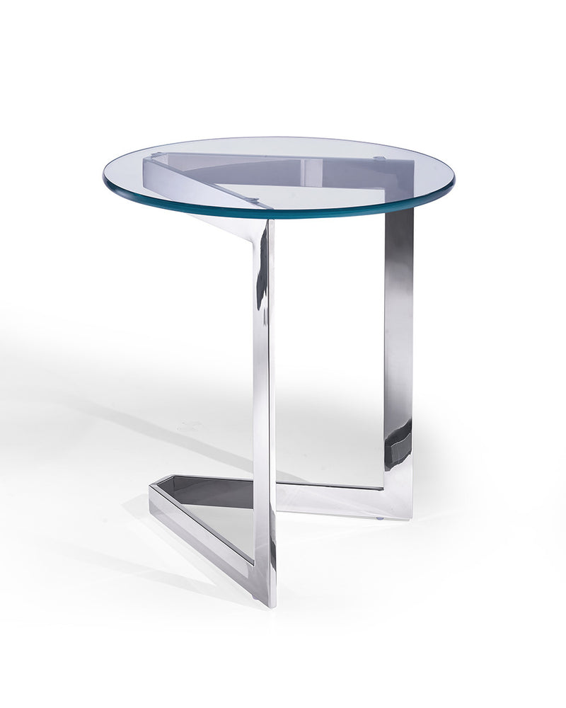 Jasmine Side Table, round clear glass, stainless steel base