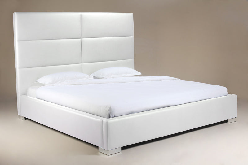 Jules Bed King, White Faux Leather, tufted headboard, chrome feet.