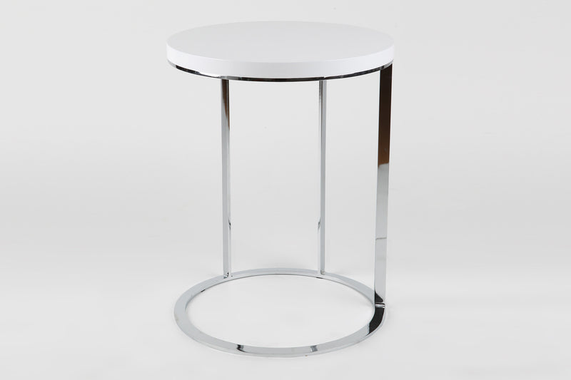 Julia side table, white top, chrome frame
