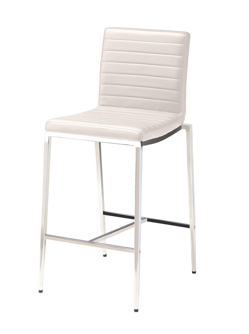 Lily Counter stool, white Faux Leather, chrome frame