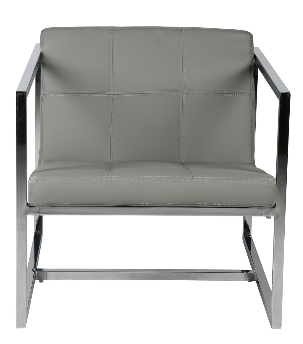 Lisa chair, Gray Faux Leather, Chrome frame