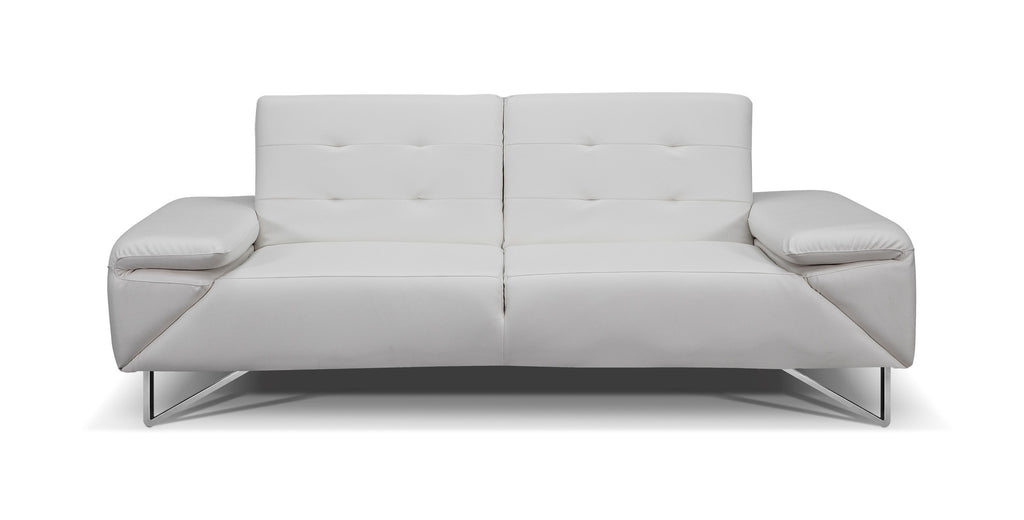 London Sofa bed, White Faux Leather, Chrome Legs