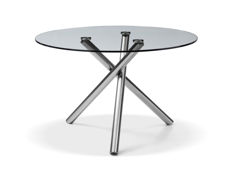Lux Dining Table, 1/2 Clear tempered glass Top, Metal base with brushed nickel finish
