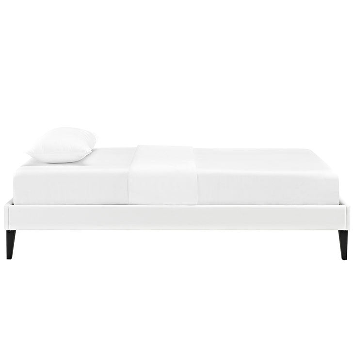 Sharon Twin Vinyl Bed Frame with Squared Tapered Legs