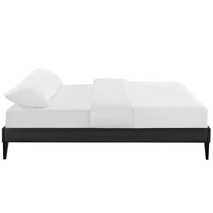 Sharon Queen Vinyl Bed Frame with Squared Tapered Legs
