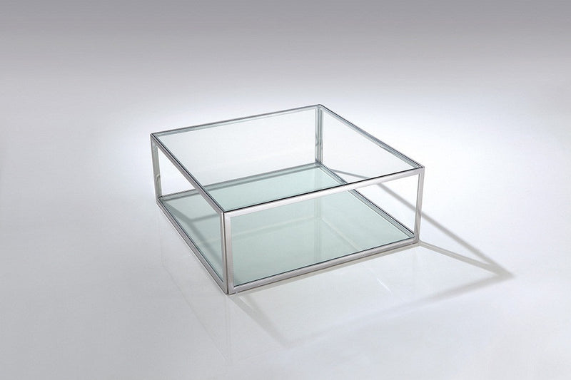 Magnolia Coffee Table, square clear glass, stainless steel base