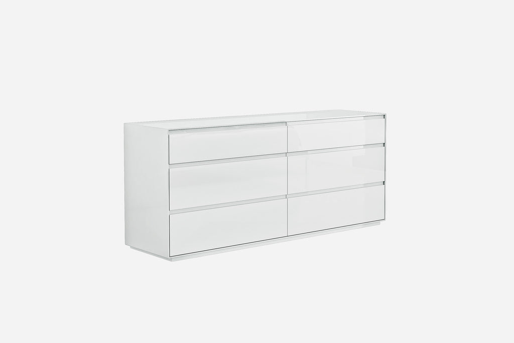 Malibu Dresser, high gloss white, 6 self close drawers